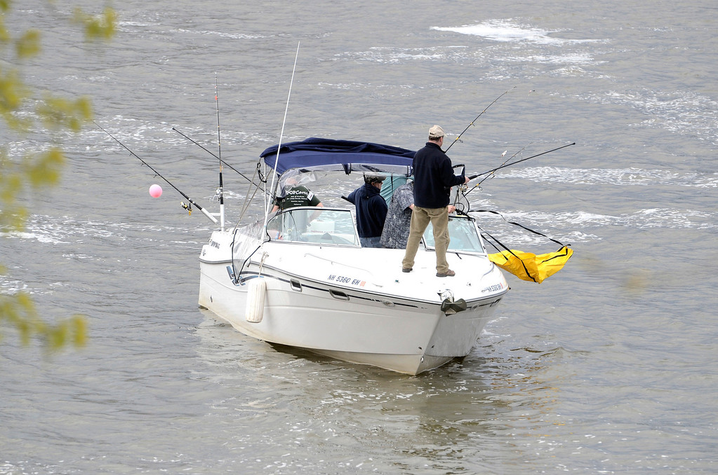 Description of . Fishing near the Troy Dam. The Troy 9th annual Ale House Striped Bass Tournament, Saturday May 3, 2014 (Mike McMahon - The Record)