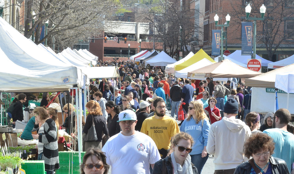 Description of . The Troy Farmers Market goes outdoors for the 15th Summer Season, Saturday May 3, 2014 (Mike McMahon - The Record)