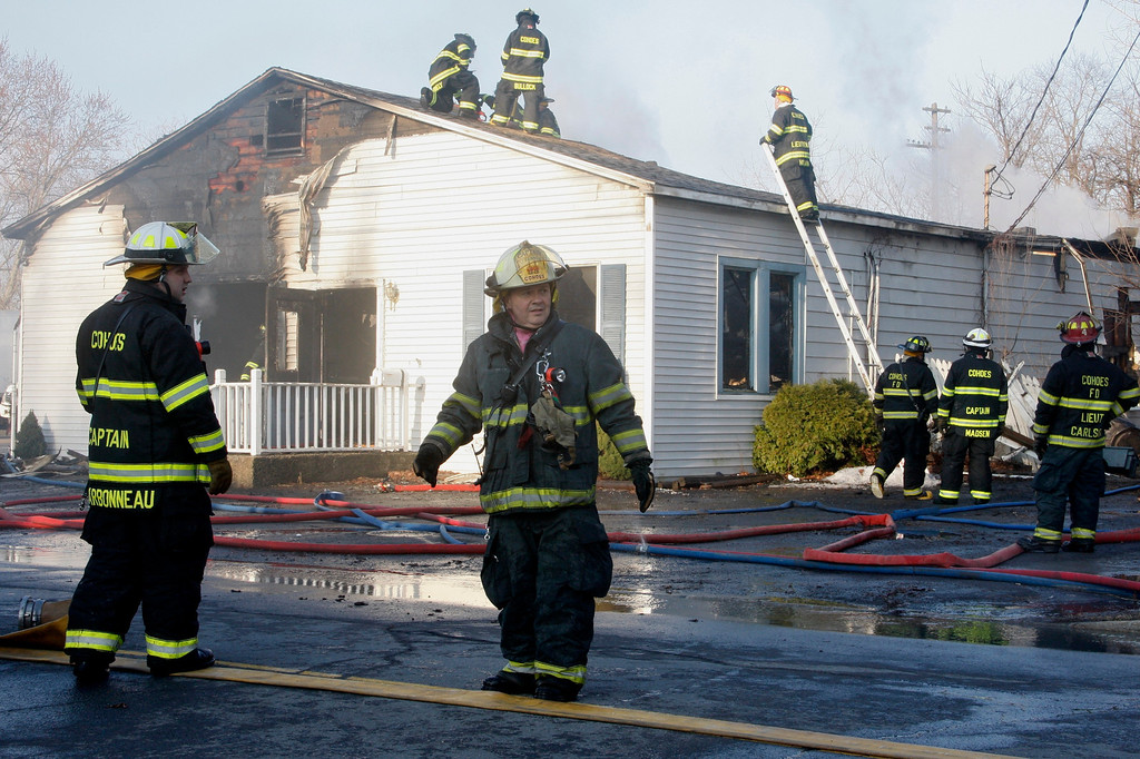 Description of . A early morning fire destroyed Matt's Fish Fry & Seafood Mart at 574 Saratoga St in Cohoes, Wednesday April 9, 2014. (Mike McMahon - The Record)