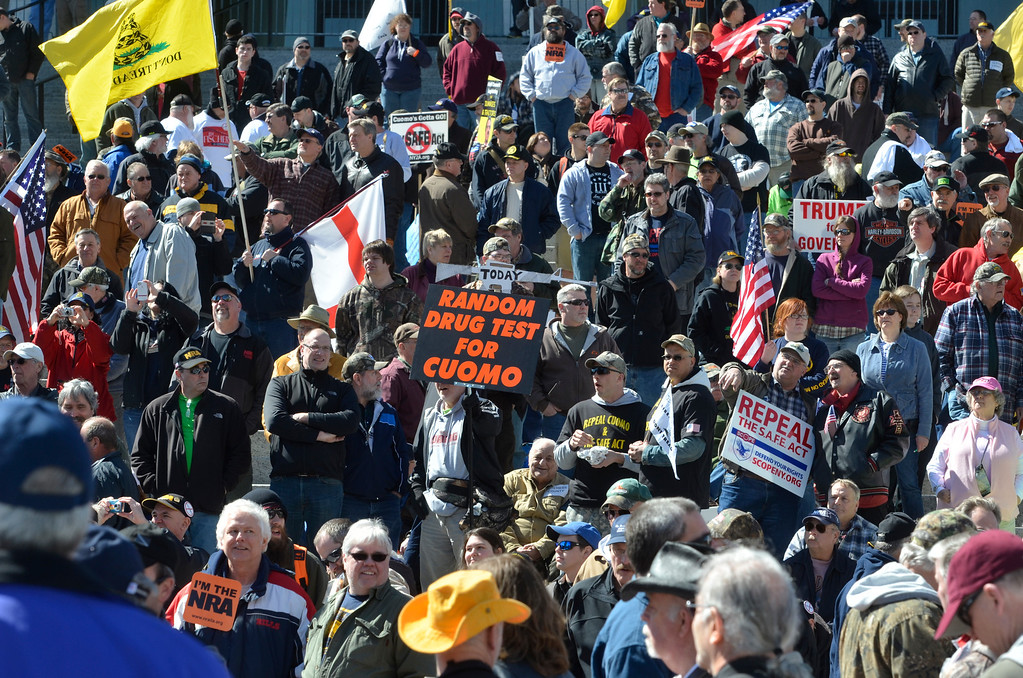 Description of . J.S.CARRAS/THE RECORD  During a gun rights rally where activists were seeking a repeal of a 2013 state law that outlawed the sales of some popular guns like the AR-15 at the Empire State PlazaTuesday, April 1, 2014 in Albany, N.Y..