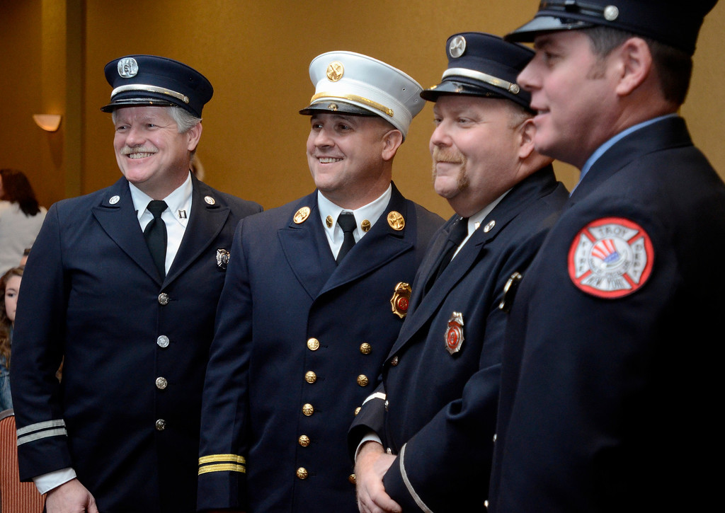 Description of . Mike McMahon - The Record,  Troy Fire Department Troy firefighters  Capt Tom Miter, Batt Chief Dave Paul, Capt Matthew Ciprioni and firefighter Joe Coonan were recognized for their outstanding rescue that took place on September 20,2013 at an apartment complex in Watervliet. Three residents were trappedand brought to safety. at the Hilton Garden Inn in Troy, Tuesday, November 19, 2013