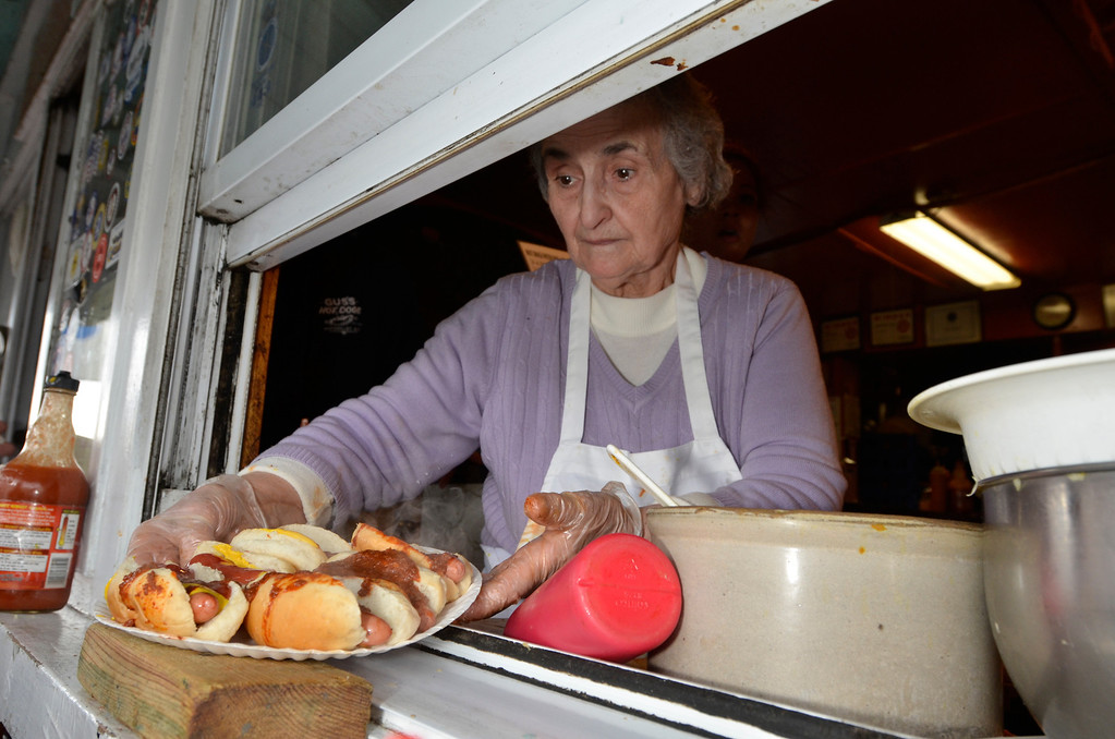 Description of . J.S.CARRAS/THE RECORD Gus's Hot Dogs celebrates 60 years in business Tuesday, April 8, 2014 on 25th Street in Watervliet, N.Y..