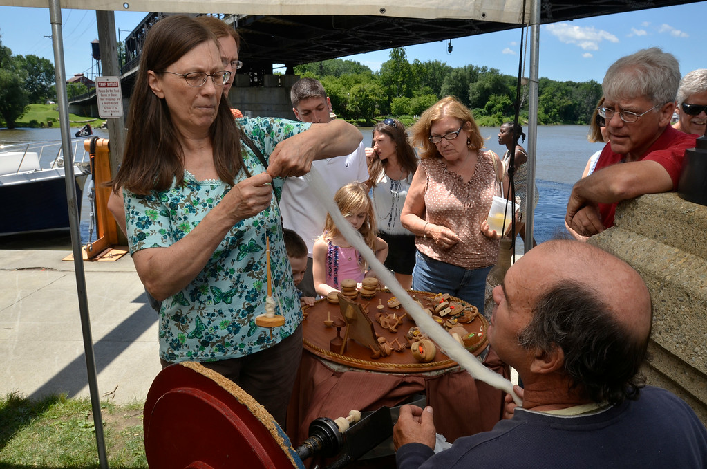 Description of . J.S.CARRAS/THE RECORD  during Steamboat Meet Saturday, July 5, 2014 at Waterford Visitors Harbor in Waterford, N.Y..