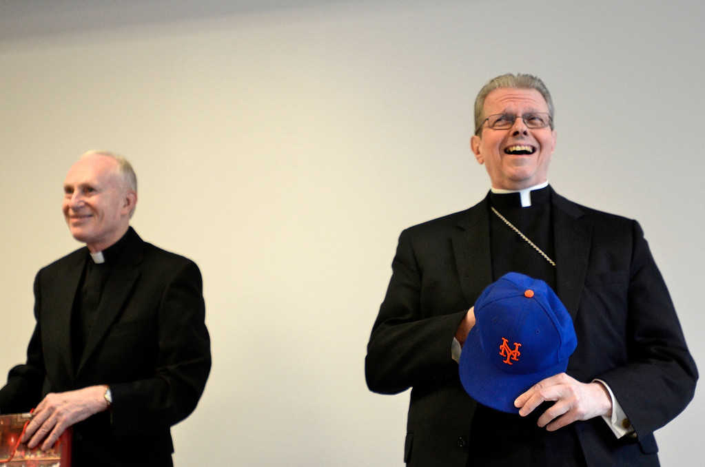 Description of . Mike McMahon - The Record, The Albany Catholic Diocese introduced Bishop-Elect Rev. Msgr. Edward Scharfenberger at right with Bishop Howard Hubbard at Albany Pastoral Center, Tuesday Febuary11, 2014