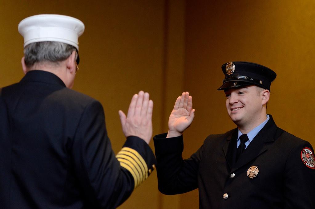 . Mike McMahon - The Record,  Troy Fire Department promoted Brian Mahar from firefighter to Lieutenant at the Hilton Garden Inn in Troy, Tuesday, November 19, 2013