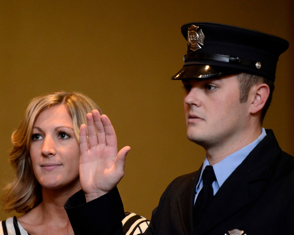 . Mike McMahon - The Record,  Troy Fire Department promoted David Bader from firefighter to Lieutenant at the Hilton Garden Inn in Troy, Tuesday, November 19, 2013