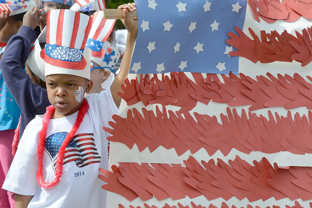 """. Mike McMahon - The Record ,  Caliek Fortune with kindergarden class at Troy\'s School 14 celebrate \""""Red, White and Blue\"""" day to honor the flag and patriotism,  Friday June 6, 2014"""