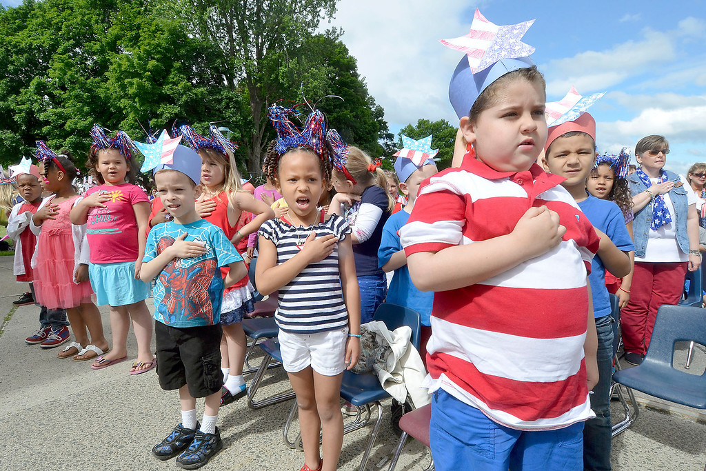 """. Mike McMahon - The Record ,  Students cite the Pledge of Allegiance at Troy\'s School 14 celebrate \""""Red, White and Blue\"""" day to honor the flag and patriotism,  Friday June 6, 2014"""