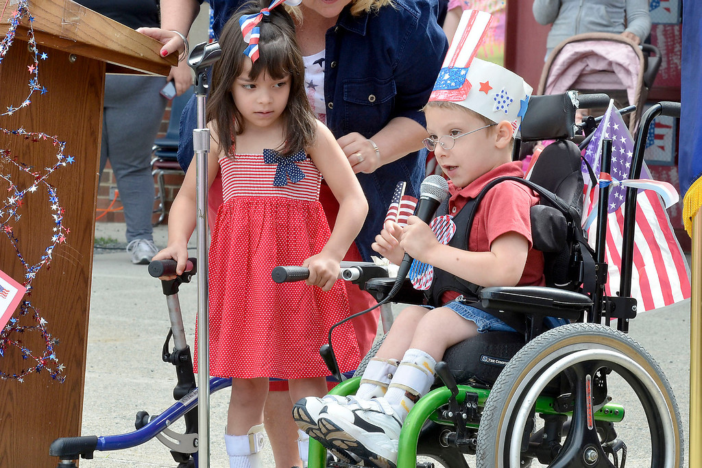 """. Mike McMahon - The Record ,  Genesis Ortiz and Aidan Williams lead in the Pledge of Allegiance at Troy\'s School 14 celebrate \""""Red, White and Blue\"""" day to honor the flag and patriotism,  Friday June 6, 2014"""