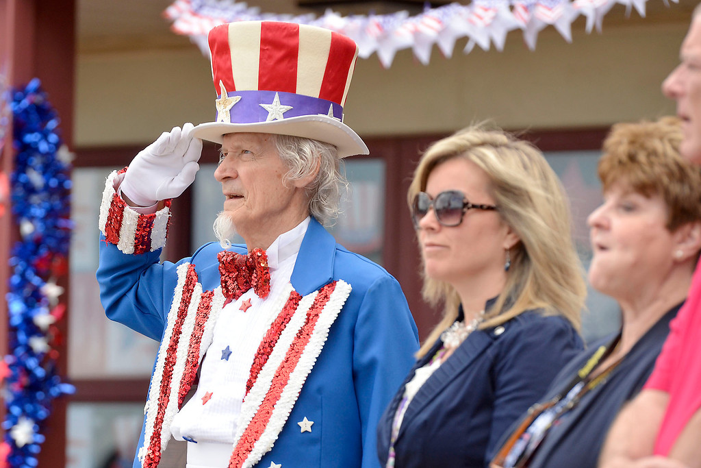 """. Mike McMahon - The Record ,  \""""Uncle Sam\"""" Fred Polnisch at Troy\'s School 14 celebrate \""""Red, White and Blue\"""" day to honor the flag and patriotism,  Friday June 6, 2014"""