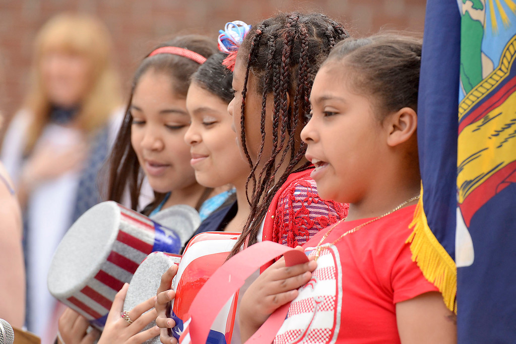 """. Mike McMahon - The Record ,  Students sing the Star Spangled Banner at Troy\'s School 14 celebrate \""""Red, White and Blue\"""" day to honor the flag and patriotism,  Friday June 6, 2014"""