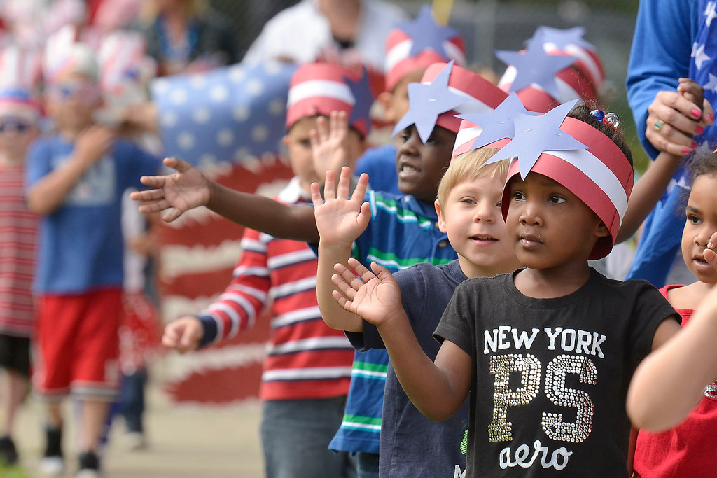 """. Mike McMahon - The Record ,  Troy\'s School 14 celebrate \""""Red, White and Blue\"""" day to honor the flag and patriotism,  Friday June 6, 2014"""
