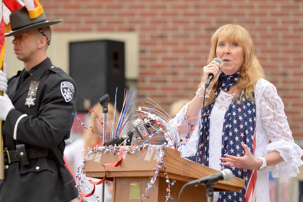 """. Mike McMahon - The Record ,  School 14 Principal Karen Cloutier at Troy\'s School 14 celebrate \""""Red, White and Blue\"""" day to honor the flag and patriotism,  Friday June 6, 2014"""