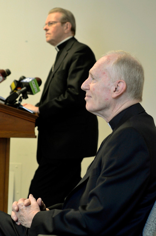 . Mike McMahon - The Record, The Albany Catholic Diocese introduced Bishop-Elect Rev. Msgr. Edward Scharfenberger at right with Bishop Howard Hubbard at Albany Pastoral Center, Tuesday Febuary11, 2014